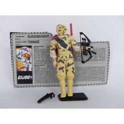 Gi joe - Figurine Tornade / Storm Shadow V2 vintage & fiche rétro complète - Hasbro