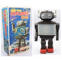 Retro collector metal & plastic tin Robot - Super explorer wide screen Vintage - SH Orikawa