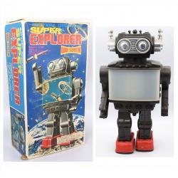 Retro collector metal & plastic tin Robot - Super explorer wide screen Vintage - SH Orikawa